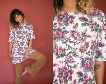 90s Floral Shirt / Purple Flower Print Tee / Boho Short Sleeve Hippie Top / Tunic Shirt Dress Long Ribbed Oversized Bohemian All Over Print
