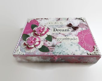 Mixed Media Altered Box, Repurposed Cigard Box, Memory Box, Jewelry Box, God Box,