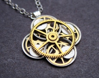 "Clockwork Flower Necklace ""Allioni"" Elegant Recycled Watch Parts Gear Pendant Mechanical Plant Balance Wheel Petals Valentine's Day"
