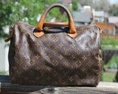 RESERVED for AE Vtg. Distressed Louis Vuitton USA French Luggage Co. Medium Speedy Bag