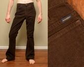 vintage 70s Mr Leggs corduroy pants slimfit flare bellbottom 1970 brown corduroy tall slim 30x33 30 waist dark brown pants
