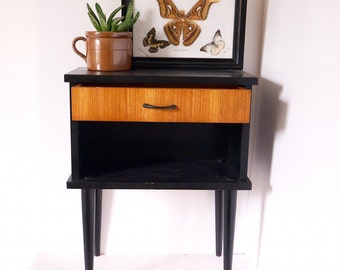 French mid century side table night stand bedside modern retro 50s danish style