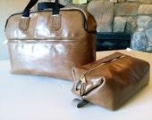 Leather Travel Bag, Overnight Bag, Zipper Pockets, Dopp kit or Cosmetic Bag set, Zipper Closure