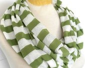 Infinity / Loop Scarf - Green and White Lace Striped