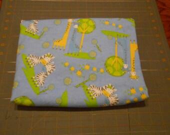 Giraffe Zebrz Trees Blue Extra Large 41 x 41 Handmade Flannel Receiving Swaddle Baby Blanket