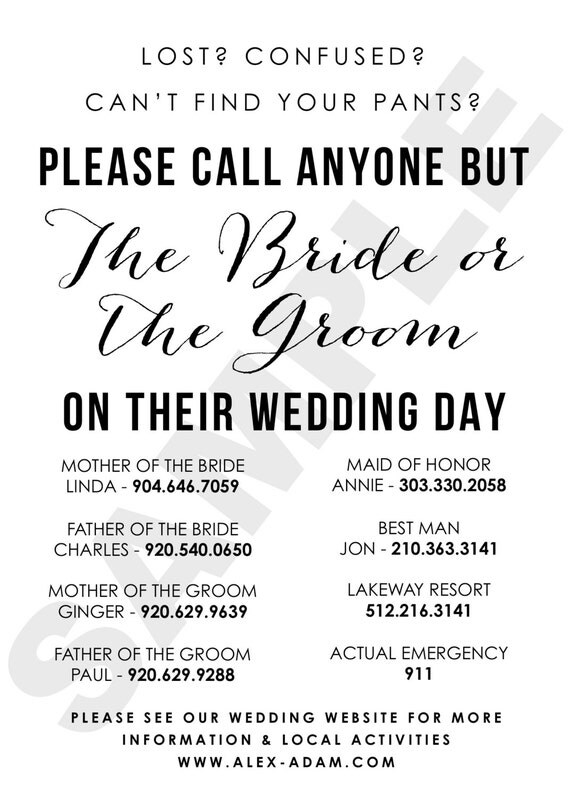 Wedding Day Contact Sheet Please Call Anyone but the Bride or – Wedding Contact List Template