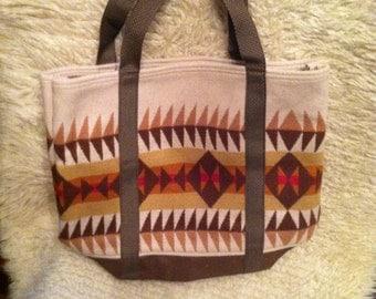 Vintage pendleton indian blanket tote bag