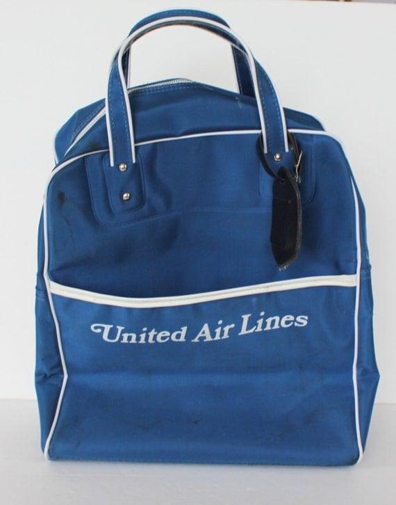 Vintage United Airlines Carry On Bag Blue White Nylon