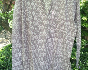 lavender mist block print cotton tunic, soft lavender and white top, swim wear, beach cover up, tunic coverup, indian beach coverup