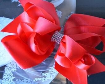 Big Red BOW, Hair Bow with rhinestones, Red Grosgrain Ribbon Bow, Girls Hair Bow, Cheerleader Bow, Christmas Hair Bow, Flower girl