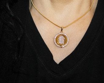 Hamsa necklace, evil eye necklace, gold Hamsa, hamsa charm, evil eye charm