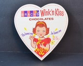 "Vintage Brachs Wink 'n Kiss Girl Valentine Heart Candy Chocolate Box Lenticular Image Red White Yellow ""He Loves Me"" 1960's"