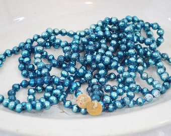 "Vintage Blue Glass Bead Christmas Tree Garland 8' Length 1/4"" Beads Decoration Crafts Repurpose 1950's"