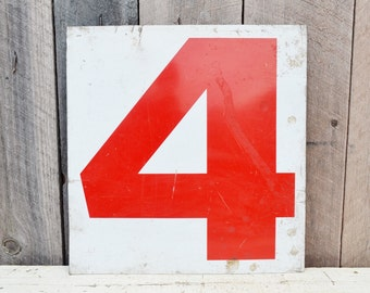 Vintage Metal Numbers 4 & 5 Four Five Gas Station Sign Red White Service Station Double Sided Industrial Garage