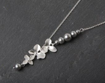 Grey Bridesmaid Necklace, Orchid necklace,  flower necklace, Bridesmaid Gift, Grey Wedding Jewelry, Wedding Necklace, Bridal necklace, gift