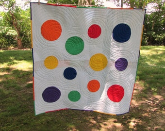 Big Circle, Little Circle Lap Quilt/ Baby Quilt 42 x42 inches
