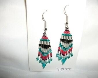 Silver teal red n black Earrings