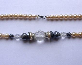 1970s VINTAGE Antique Plastic bijouterie plastic pearls Necklace CZECHOSLOVAKIA!