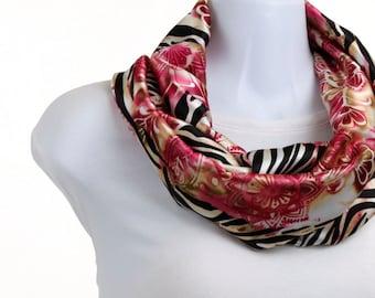 Short Infinity Zebra Floral Collage - Pink, Gold, Ecru and Black Silky ~ SK155-S5