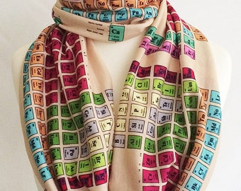 Chemistry Gift, Scarf,Periodic Table Scarf, UK ,Geek Gift, Periodic Table, Nerd Scarf By Rooby Lane
