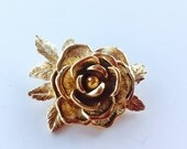 MOVING SALE Half Off Vintage  Signed Sarah Coventry  Gold Flower Rose Brooch in Excellent Condition