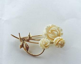 MOVING SALE Half Off Pretty Vintage Signed 12k Gold Filled Carved Rose Bone  Flower Brooch Pin