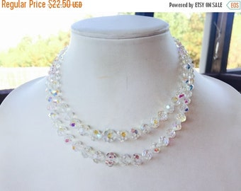 MOVING SALE Half Off Stunning Vintage Two Strand Aurora Borealis Crystal Beaded Necklace