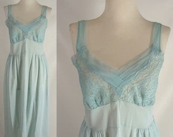As-Is Blue Green 60s Slip Nightgown or Customizable Zombie Costume OPTIONAL BLOOD Tatters Grunge & Spiders ~ Halloween size M 8 10