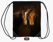 Drawstring bag, two horses photo on tote bag, horse portraits, dark browns black gift for horse lover, small notebook, market bag