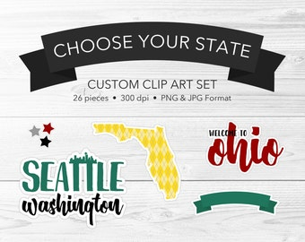 Custom State Sticker Clip Art -- Home State Clip Art, Hometown Clip Art, Custom Clipart, US State Clipart, Digital Scrapbook, Commercial Use