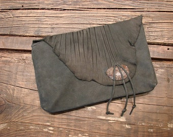 Charcoal Grey Leather Clutch