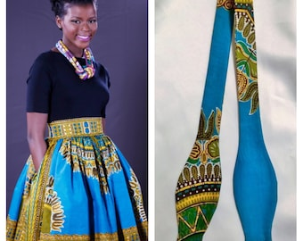 African clothing, Couple Dashiki Outfit, For Him, For Her, African Yellow/Blue Skirt; African Print; African Skirt; African Ankara Dashiki