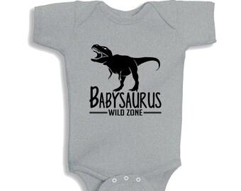 Babysaurus Heather baby Bodysuit or Kids Shirt