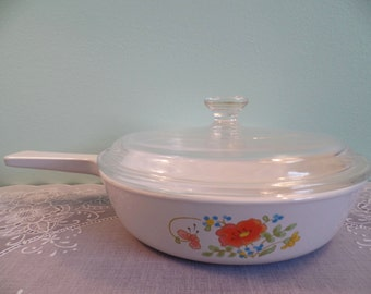 Corning Ware Wildflower Skillet with Lid - Vintage Corning Ware - Corning Ware Wildflower Pattern - Corning Ware - Corning Ware Skillet