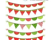 Watermelon Bunting Clipart Set - watermelon themed bunting, red, green, bunting - personal use, small commercial use, instant download