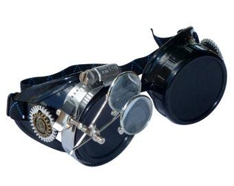 Victorian Steampunk goggles aviator victorian welding biker eye cup--bbb dark1