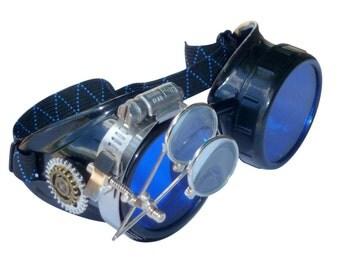 Victorian Steampunk goggles aviator victorian welding biker eye cup--bbb blue1