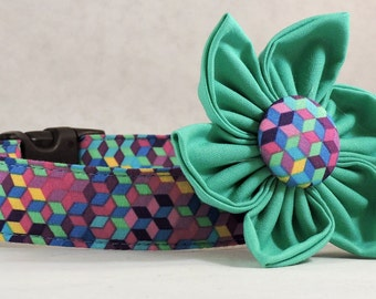 Dog Collar  with Flower - Ribbon Plaid - All Sizes