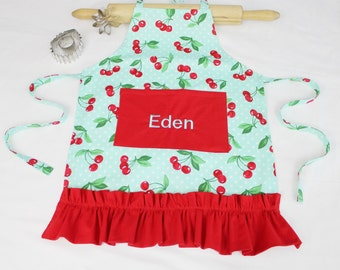 Personalized Retro Cherries on Aqua Ruffled Child Apron - with red pocket and ruffle - made to order