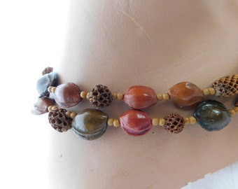 Vintage Hippie Seed and Nut Necklace Naturalist Fairy Faerie Beaded Necklace