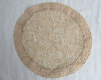 Vintage French Lace Round Ecru Doilie Doily Made in France