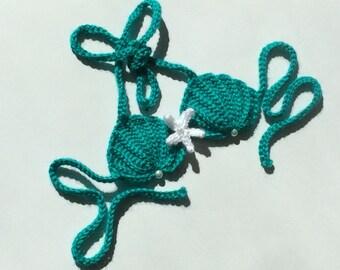 Crochet seashell mermaid top,5 sizes available,READY to SHIP,emerald green shell bikini top mermaid costume baby bikini bra, 9-12 month size