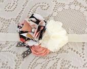 Girls Flower Headband - Pink Off white Hair Flower