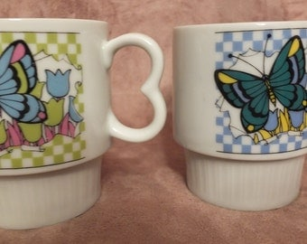 1960's Butterfly Stacking Coffee Mugs Set Of 2
