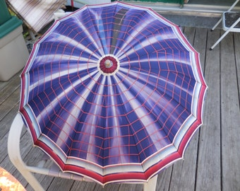 Vintage 1950s to 1960s Umbrella Red/White/Blue Lucite Handle/Tips/Top Sun Wear Still Works