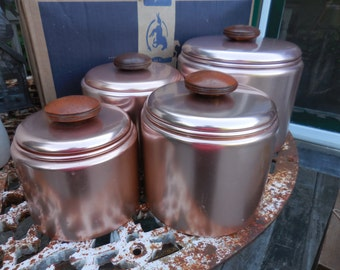 Vintage 1950s Set of Four Containers/Canisters/Storage Pink/Peach/Copper Aluminum Wood Knobs Mirro Retro Kitchen USA Flour/Sugar/Tea/Treats