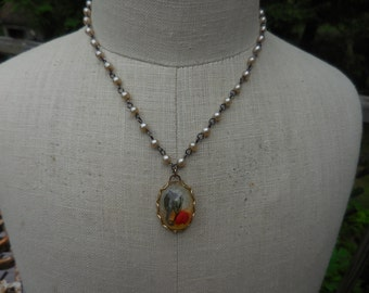 Vintage 1950s to 1960s Silver Tone Pearl Chain With Gold Tone Pendant With Miniature Seahorse in Resin Necklace