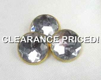 """CLEARANCE! Razzle Dazzle: 5/8"""" (15mm) Showy Metal-Backed Acrylic """"Rhinestone"""" Buttons - Set of 3 New / Unused Matching Buttons"""