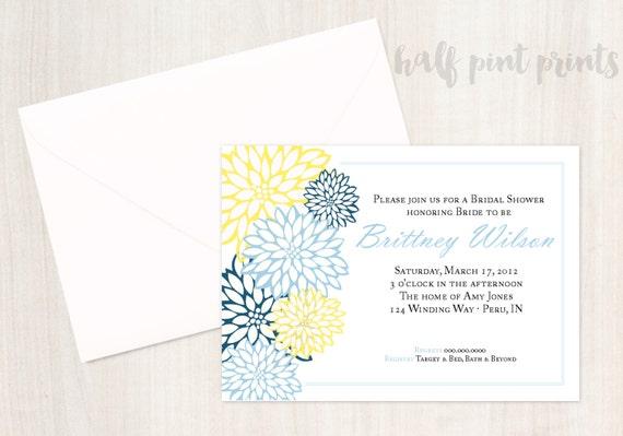 Sophisticated Floral - Bridal Shower Invitation, Customized Traditional Wedding Shower, Custom Digital Printable Invite, Classic Design