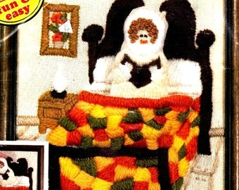 """Vintage Pillow n' Pocket Stitchery Kit Doll In Bed 8"""" x10"""" Embroidered Wall Hanging Or Pillow No.5010 Sealed- 5 oz"""